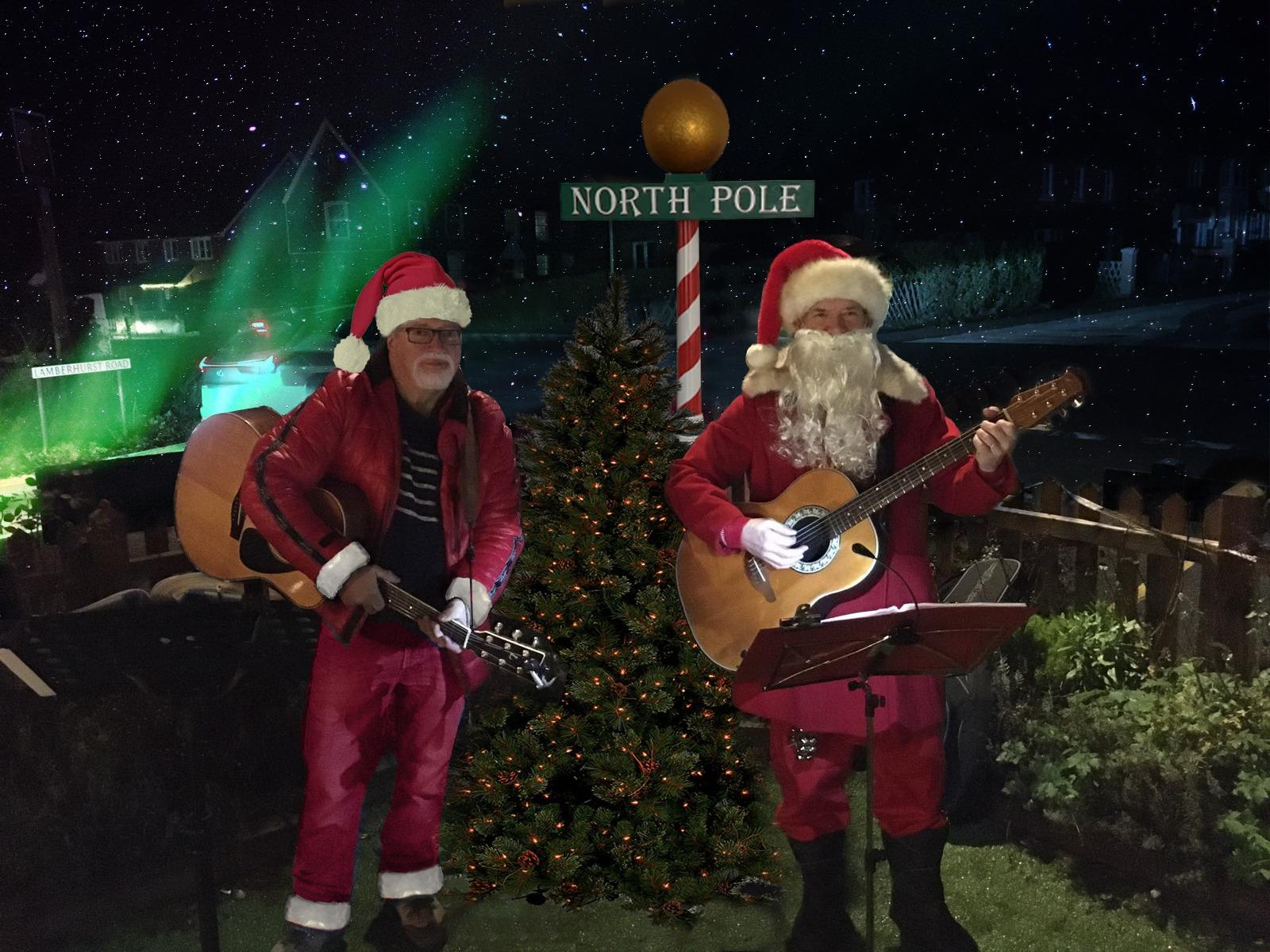 Singing Santas at the North Pole